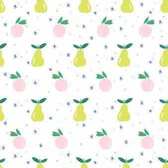 ベクトルかわいいオレンジ梨と小さな花のイラストモチーフシームレスな繰り返しパターンデジタルアート