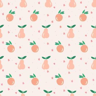 ベクトルかわいいオレンジ梨と小さな花のイラストモチーフのシームレスな繰り返しパターン