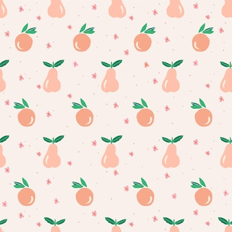 Vector cute orange pear and small flower illustration motif seamless repeat pattern