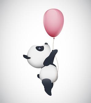 Вектор милая панда, летящая на воздушном шаре, изолированные на белом фоне
