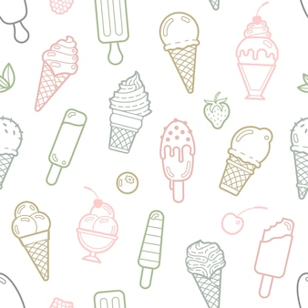 Vector cute pastel ice cream seamless pattern