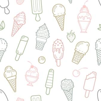 벡터 귀여운 파스텔 아이스크림 원활한 패턴 프리미엄 벡터