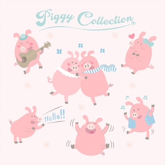Vector cute pig collection