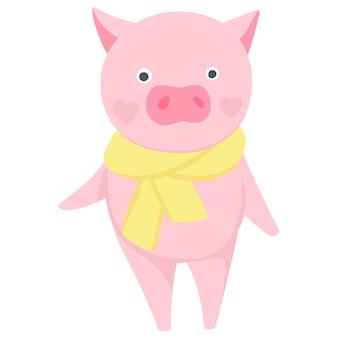 벡터 귀여운 돼지입니다. 패션 동물. 돼지 그림 흰색 절연입니다. 중국 달력에 2019의 상징입니다. 재미있는 캐릭터.