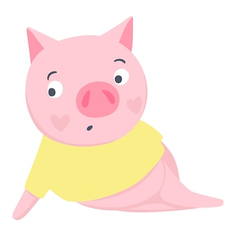 Vector cute pig. fashion animals. pigs illustration isolated on white. symbol of 2019 on the chinese calendar. funny character.