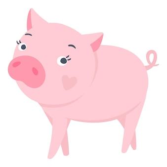 벡터 귀여운 돼지입니다. 재미있는 동물들. 돼지 그림 흰색 절연입니다. 중국 달력에 2019의 상징입니다. 어린이 인쇄.