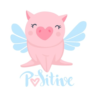 Vector cute pig. funny animals. pigs illustration isolated on white. symbol of 2019 on the chinese calendar. kids print.