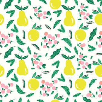 벡터 귀여운 핑크 과일과 베리 그림 모티브 원활한 반복 패턴 디지털 파일 아트웍