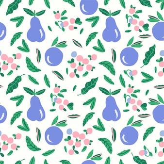 벡터 귀여운 핑크 과일과 베리 그림 모티브 원활한 반복 패턴