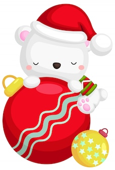 A vector of a cute polar bear on a christmas decoration