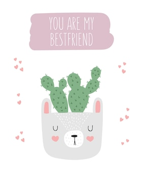 Vector cute poster with house plant in funny animal pot and motivational slogan