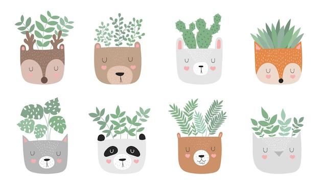 재미있는 동물 냄비에 집 식물이 있는 벡터 귀여운 포스터와 동기 부여 슬로건