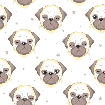 Vector cute pug seamless pattern