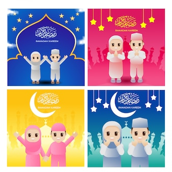 Vector cute ramadhan islam religion muslim greeting card