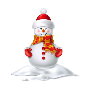 Vector cute realistic snowman in mittens scarf hat