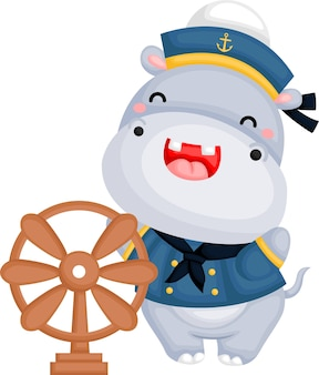 A vector of a cute sailor hippo