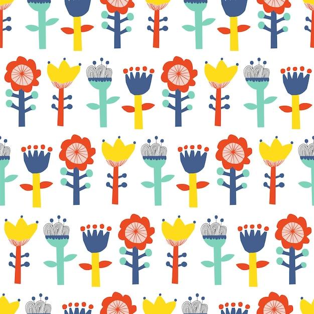 ベクトルかわいいスカンジナビアの花のイラストモチーフシームレスリピートパターン家の装飾キッチンプリント