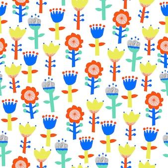 Vector cute scandinavia flower illustration motif seamless repeat pattern