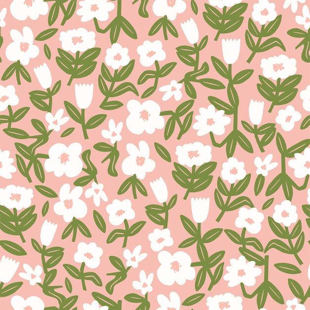 Vector cute scandinavian flower illustration motif seamless repeat pattern home decor print fashion