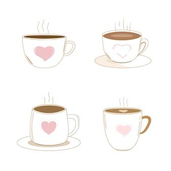 ピンクのハートとホットコーヒーカップのベクトルかわいいセットオブジェクト素敵なレトロなスタイルのクリップアート