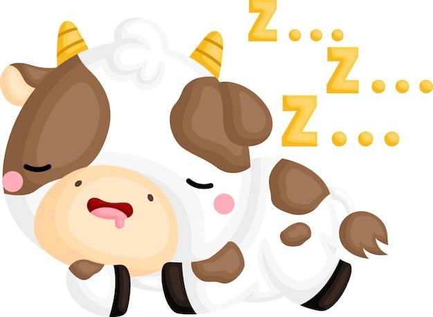Un vettore di una mucca addormentata carina