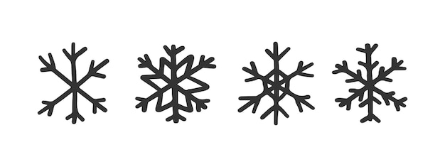 Векторные милые снежинки для рождественского дизайна.