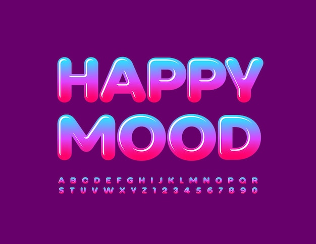 Vector cute template happy mood colorful glossy font gradient alphabet letters and numbers set