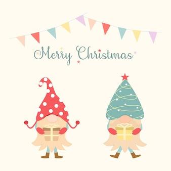 Вектор милые два гнома, держа подарочную коробку с флагом и надписью merry christmas на светло-желтом