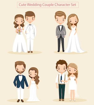 Vector of cute wedding couple character set