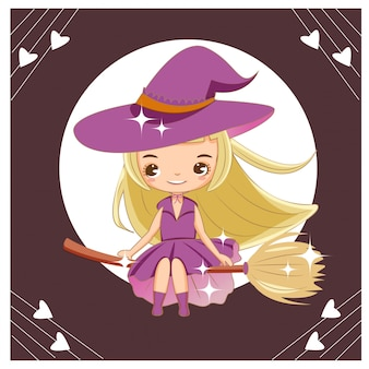 Vector of cute witch flying with broom stick