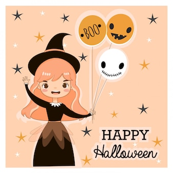 Vector of cute witch for hallooween greeting card
