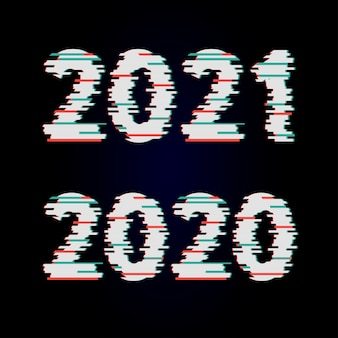 Vector cyber glitch. 2021 on black