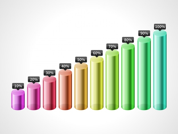 Vector cylinder bar colorful graph isolated on white background