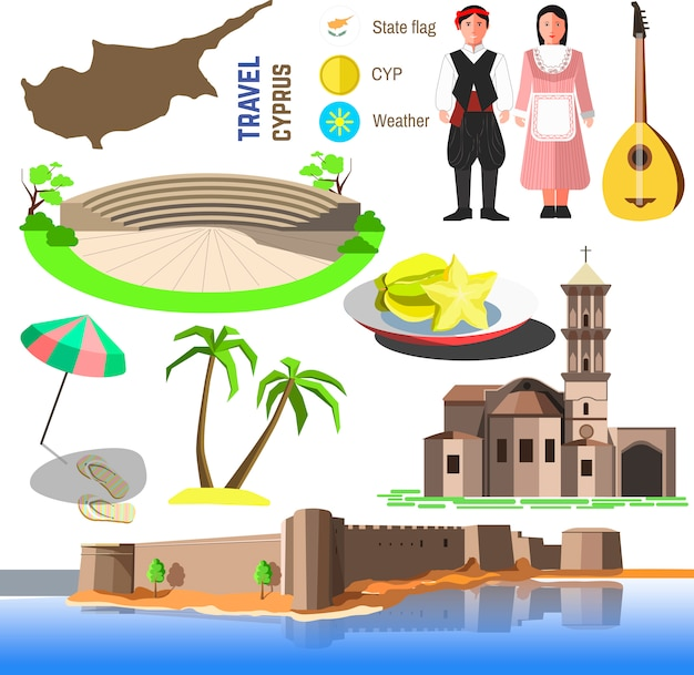 Vector cyprus symbols and icons.