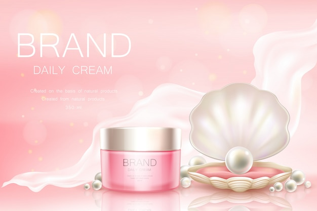 Vector daily cream in jar, cosmetic background