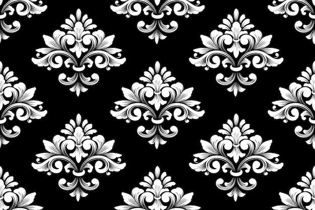 ダマスク織のシームレスなパターンのベクトルの背景。古典的な豪華な昔ながらのダマスク織の飾り、壁紙、テキスタイル、ラッピングのロイヤルビクトリア朝のシームレスなテクスチャ。絶妙な花のバロックテンプレート。
