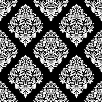 Векторный фон дамасской бесшовные модели. классический роскошный старинный дамасский орнамент, королевская викторианская бесшовная текстура для обоев, текстиля, упаковки. изысканный цветочный шаблон в стиле барокко.