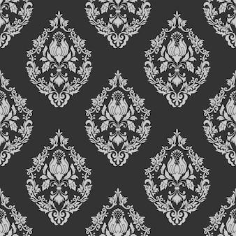 ベクトルダマスクシームレスパターンの背景。古典的な豪華な昔ながらのダマスク織の飾り、壁紙、テキスタイル、ラッピングのための王室のビクトリア朝のシームレスなテクスチャ。絶妙なフローラルバロックテンプレート。