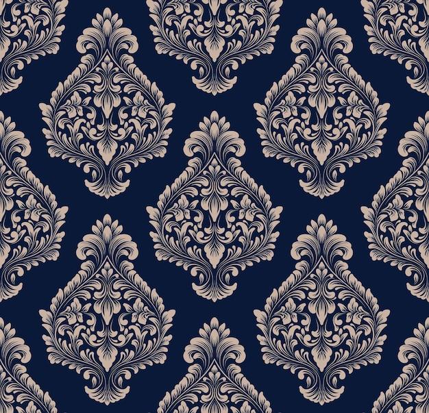 벡터 다 완벽 한 패턴 배경입니다. 고전적인 고급 구식 다마스크 장식, 월페이퍼, 직물, 포장을 위한 빅토리아 왕실의 매끄러운 질감. 절묘한 꽃 바로크 템플릿입니다.