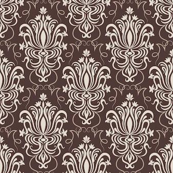 다 마스크 벡터 원활한 패턴 배경입니다. 클래식 럭셔리 구식 다 마스크 장식, 배경 화면, 섬유, 포장 로얄 빅토리아 원활한 텍스처. 절묘한 꽃 바로크 템플릿입니다.