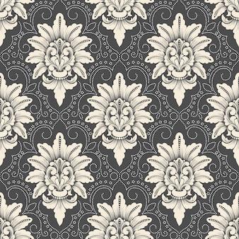 ダマスク織のシームレスなパターンのベクトルの背景。古典的な豪華な昔ながらのダマスク織の飾り、壁紙、テキスタイル、ラッピングのロイヤルビクトリア朝のシームレスなテクスチャ。