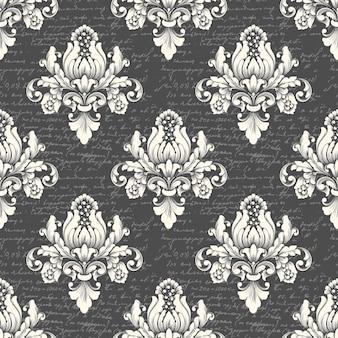 Вектор дамасской бесшовные фон с древним текстом. классический роскошный старинный дамасский орнамент, королевская викторианская бесшовная текстура для обоев, текстиль. изысканный цветочный шаблон в стиле барокко