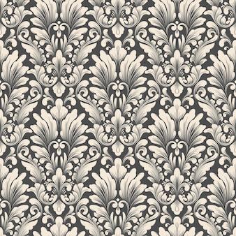 ベクトルダマスクシームレスパターン背景古典的な豪華な昔ながらのダマスク飾り