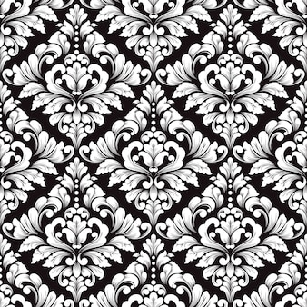 Вектор дамасской бесшовный фон. классический роскошный старомодный дамасский орнамент для обоев