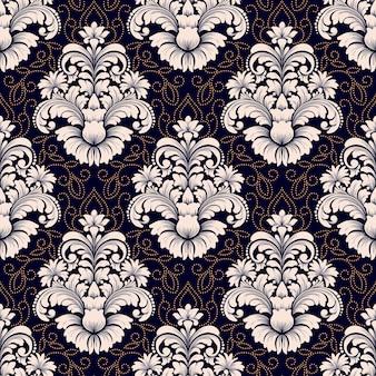 Вектор дамасской бесшовные модели. классический роскошный старинный дамасский орнамент, королевская викторианская бесшовная текстура для обоев, текстиля, упаковки. изысканный цветочный шаблон в стиле барокко.