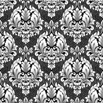Reticolo senza giunte del damasco di vettore. ornamento damascato vecchio stile di lusso classico, trama vittoriana senza soluzione di continuità per sfondi, tessuti, confezioni. modello barocco floreale squisito.