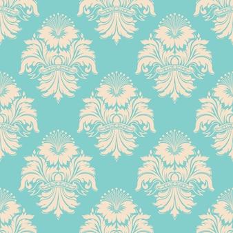 ベクトルダマスクシームレスパターン。クラシックで豪華な昔ながらのダマスク織の飾り、ロイヤルビクトリア朝のシームレスなテクスチャラッピング。絶妙なフローラルバロックテンプレート。