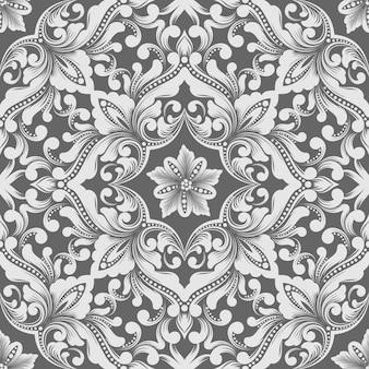 ベクトルダマスクシームレスパターン要素。古典的な豪華な昔ながらのダマスク織の飾り、壁紙、テキスタイル、ラッピングのロイヤルビクトリア朝のシームレスなテクスチャ。絶妙な花のバロックテンプレート。