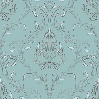 ベクトルダマスクシームレスパターン要素。古典的な豪華な昔ながらのダマスク織の飾り、壁紙、テキスタイル、ラッピングのための王室のビクトリア朝のシームレスなテクスチャ。絶妙なフローラルバロックテンプレート。