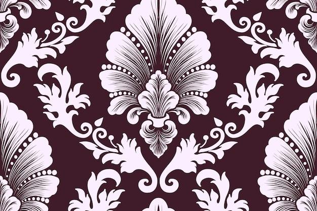 벡터 다 마스크 원활한 패턴 요소입니다. 고전적인 고급 구식 다마스크 장식, 월페이퍼, 직물, 포장을 위한 빅토리아 왕실의 매끄러운 질감. 절묘한 꽃 바로크 템플릿입니다.